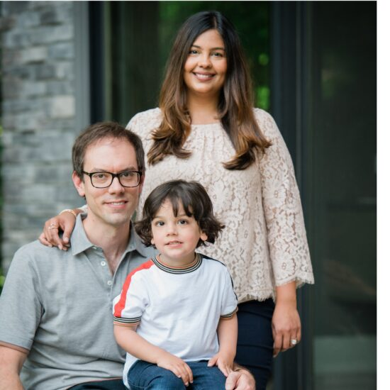 Sabina Vohra Miller and Craig Miller with their son Aavir, joined Anishnawbe Health's circle of supporters this fall.